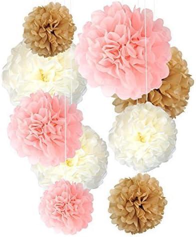 neutrals 5 tissue paper pom poms wedding decoration.htm amazon com tissue paper pom poms neutral pink gold decorations  tissue paper pom poms neutral pink gold