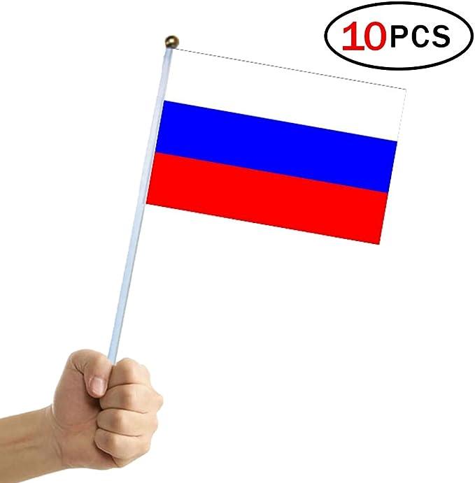 Banderas Pequeñas,Banderas de Mano,Bandera de Rusia con 14 x 21 CM Juego de 10 PCS Mini Bandera Nacional Mini Bandera Rusia: Amazon.es: Deportes y aire libre