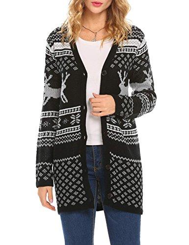 Unibelle Stylish Long Sleeve V Neck Chrimas Reindeer Pattern Cardigan Sweater For Women (Black Large)