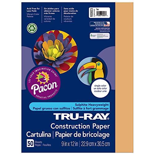 """Tru-Ray Heavyweight Construction Paper, Tan, 9"""" x 12"""", 50 Sheets"""