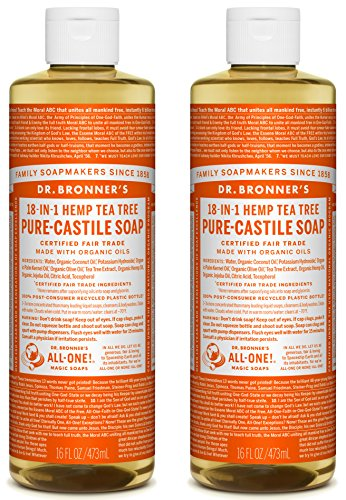 - Dr. Bronner's Organic Pure Castile Liquid Soap, Tea Tree Oil, 16 oz, 2 pk