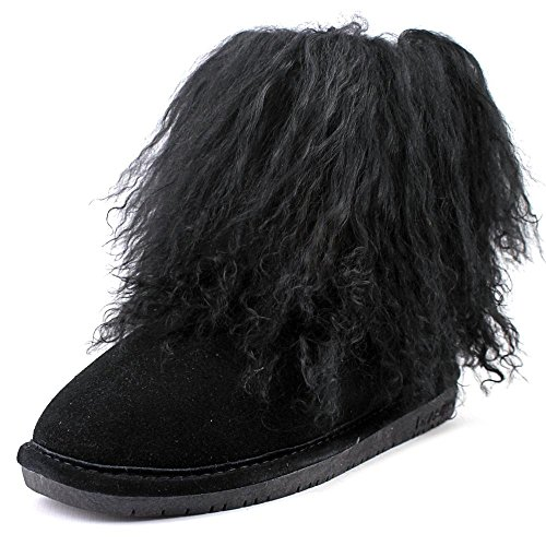 Bearpaw Sheepskin Boots - BEARPAW Boo Women's Round Toe Suede Winter Boots, Black, Size 11 M US