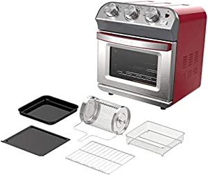 DASH 1450-Watt 10-Liter Air Fryer Oven Stainless steel Oven - Red, Timer and Auto-Shutoff, AirCrisp Technology, Air Fry, Bake, Broil, Warm and Toast