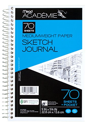 Mead Académie Spiral Sketchbook / Journal, 70 Sheets, 9 x 6 Inch Sheet Size (54068)