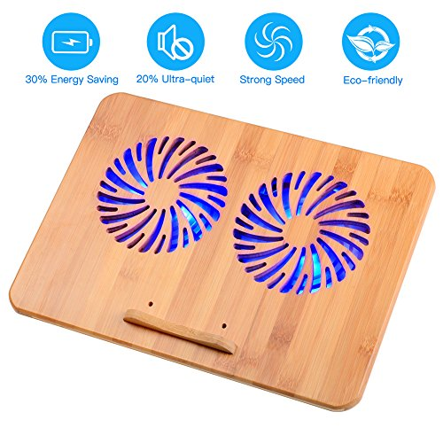 Laptop Cooling Pad - Best Bamboo Wood Laptop Cooler for 12-17 Inch Laptop, with 2 Powerful Fans, Adjustable Mount Stand