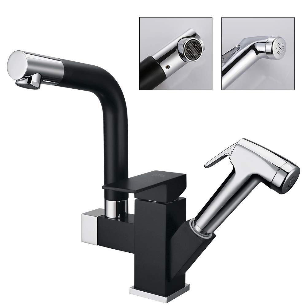 UMI. Essentials 360° Drehbar Wasserhahn Spültisch Armatur Küche schwarz Spültischarmatur Spülbecken Mischbatterie mit ausziehbarem Brause Küchenarmatur