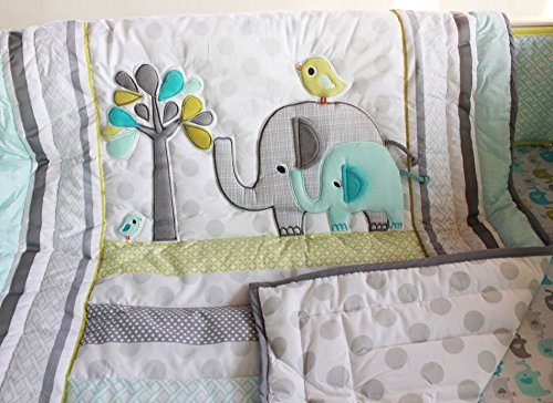 NAUGHTYBOSS Unisex Baby Bedding Set Cotton 3D Embroidery Elephant Bird Quilt Bumper Mattress Cover Blanket 8 Pieces Green by NAUGHTYBOSS (Image #4)