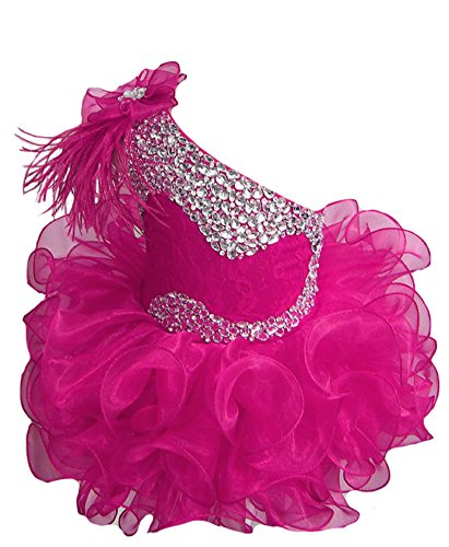 Chenfel Infant Baby Girls' Lace Crystal Cupcake Pageant Dress 5 Fuchsia