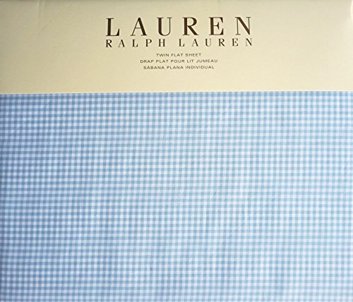 Ralph Lauren Twin Size Flat Sheet Cotton Light Blue White Gingham Stripes Pattern -- Georgica Garden