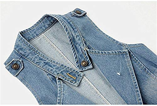 Denim Fashion Blu Vintage Gilet Donna Bavero Glamorous Autunno Casuali Jeans Smanicato Outerwear Jacket Baggy Eleganti Haidean Semplice Cappotto Primaverile 6IOUn64