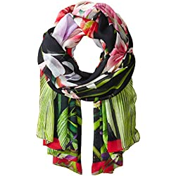 Ted Baker London Women's Mirrored Tropics Blanket Scarf, black, One Size