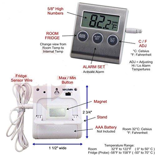 temperature alarms fridge thermometer freezer indoor room. Black Bedroom Furniture Sets. Home Design Ideas