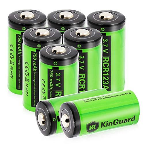 RCR123A Rechargeable Batteries KinGuard 8 batteries  3.7V 750mAh CR123A Li-ion
