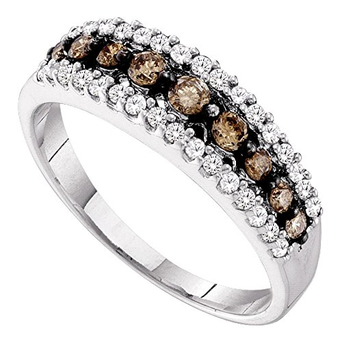 - Brown Diamond Fashion Band Solid 10k White Gold Three Row Ring Chocolate Round Pave Set Fancy 1/2 ctw