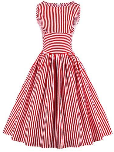 539b7b9c3f41 Bestfort Vintage Kleider Damen 50er Retro Mode Rundhals Cocktailkleider  Knielang Ärmellos Festliche Rockabilly Kleid Gestreiftes Rot