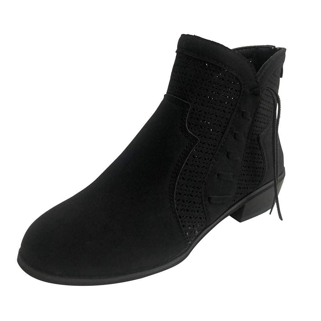 Women's Wide Width Ankle Booties Classic Zipper Low Stacked Heel Round Toe Suede Comfy Boots Casual Square Heel Booties by Close-dole