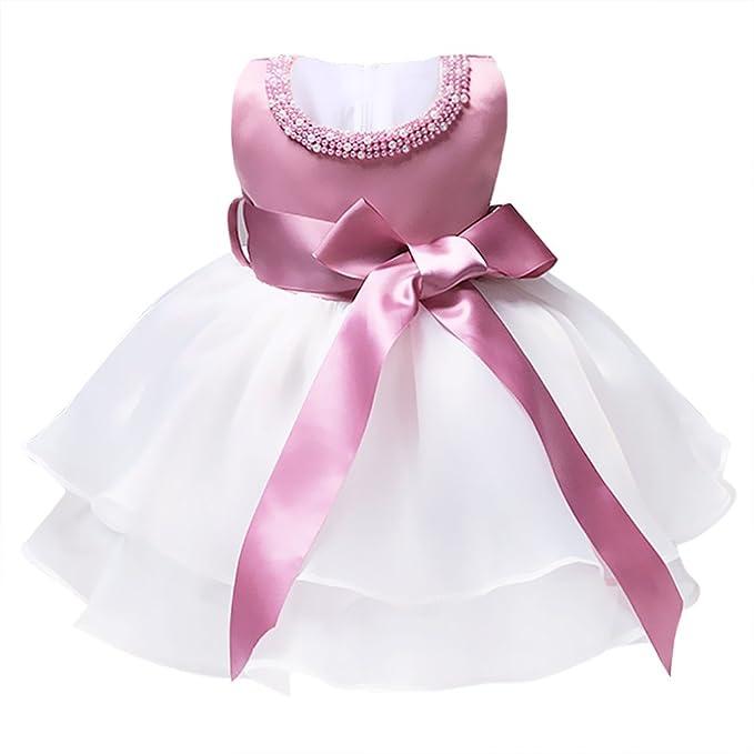 35a464ea9 YiZYiF Vestido Bebé Niña Comunión 0-9 Meses Tutú Bautizo Sin Manga Perla  Vestido Princesa Fiesta Cumpleaños  Amazon.es  Ropa y accesorios