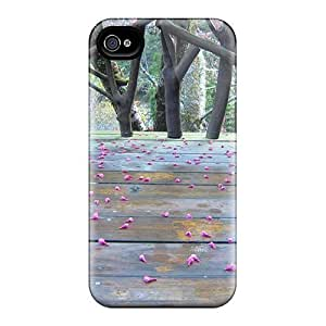 Fashion Tpu Case For Iphone 4/4s- Sakura Fallen Flowers Defender Case Cover