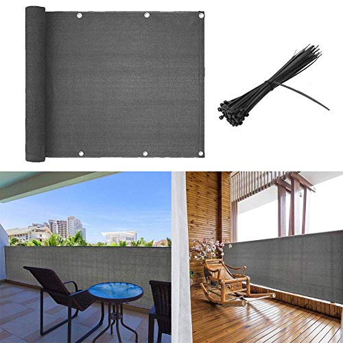 shsyue Balcony Cover Privacy Filter Weather-Resistant Wind Screen Anthracite UV Protection Balcony Covering with Cable Ties 500x90cm