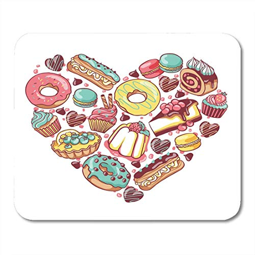 Mouse Pads Love Pastry Sweets Bakery Products Desserts Heart with Donut Cupcake Chocolate Macaroon Eclair Pie Mouse Pad for notebooks,Desktop Computers mats 7.2 x 8.7 Office Supplies