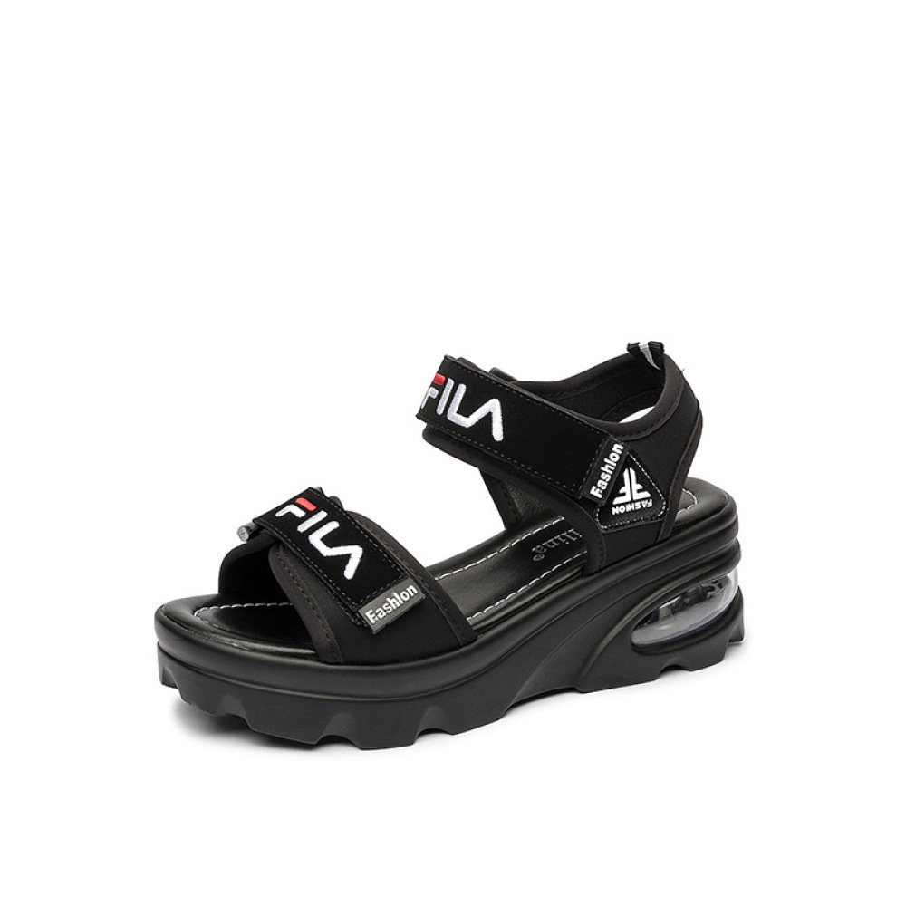 Koyi Sandalias Femeninas Summer New Velcro Casual Flat High Sport Pumps Plataforma Femenina Open-Toed High Heels 6.0cm 35 EU|Black