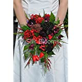 Rustic Artificial Black Berry, Red Tulip and Rose Bridal Bouquet with Ranunculus and Foliage