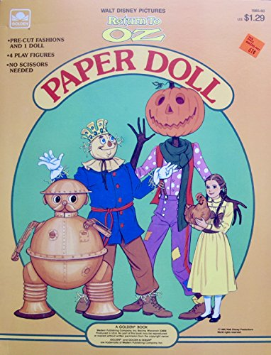 WALT DISNEY Golden RETURN to OZ PAPER DOLL BOOK (UNCUT) w Card Stock DOROTHY DOLL, Tik-Tok, SCARECROW, JACK PUMPKINHEAD & FASHIONS (1985 Western)