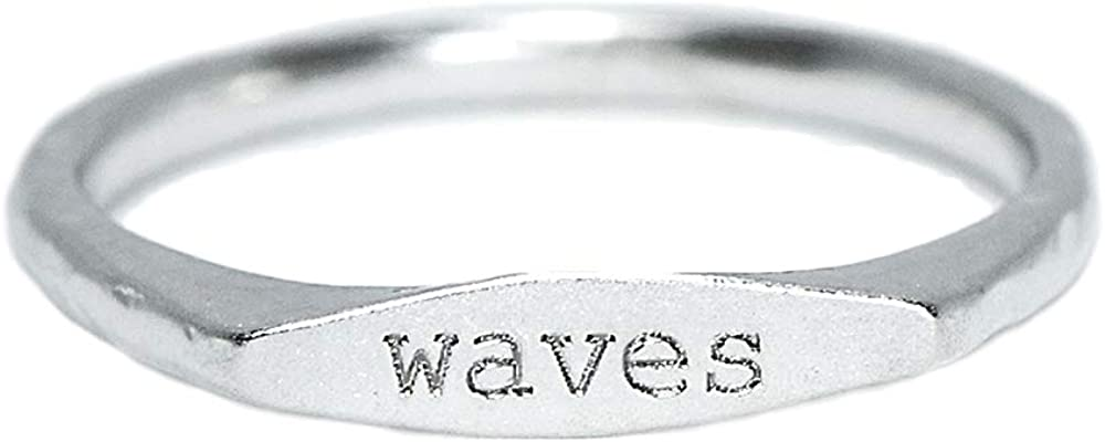 Pura Vida Waves Vibes Stackable Ring - .925 Sterling Silver Band, Brass Base - Sizes 5-9