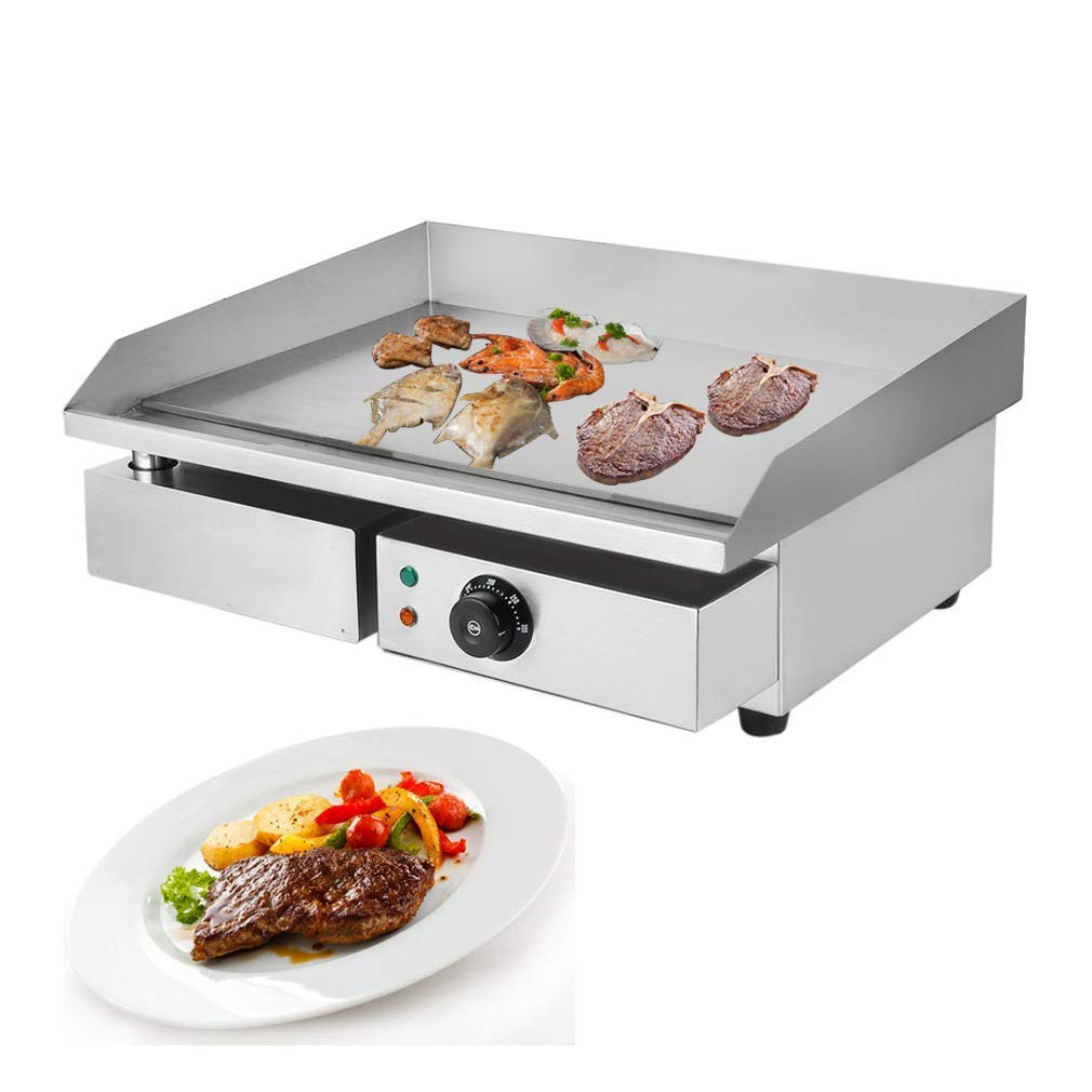 1500W Electric Countertop Griddle Grill 22'' Stainless Steel Food Tabletop Grill Adjustable Temp Control Restaurant Grill