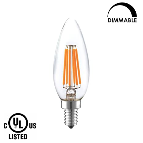 LIGHTSTORY Candle LED Bulb Dimmable, E12 base 6W 600 Lumen 2700K Warm B10 LED Filament