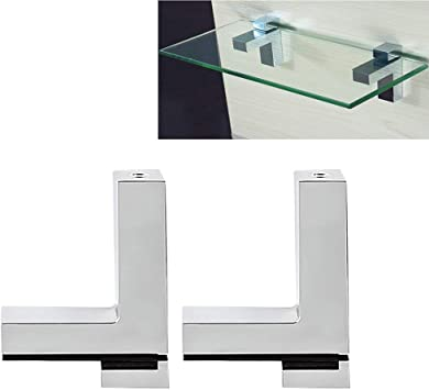 Wall Mounted Adjustable Alloy Glass//Wood Shelf Clip Clamp Bracket Support