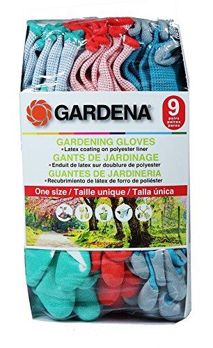 Gardena Gardening Gloves - Latex / Polyester - 9 Pairs by Gardena