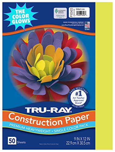"Tru-Ray Heavyweight Construction Paper, Brilliant Lime, 9"" x 12"", 50 Sheets"