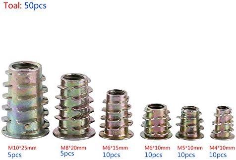 50pcs Zinc Alloy Screw-in Type Hex Drive Threaded Insert Nuts Assortment M4//M5//M6//M8//M10