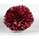 HEARTFEEL 5pcs Tissue Paper Pom-poms Flower Ball Wedding Party Outdoor Decoration Tissue Balls / Baby Shower / Birthday Party / Paper Ball Decor (12 inch, Burgundy)