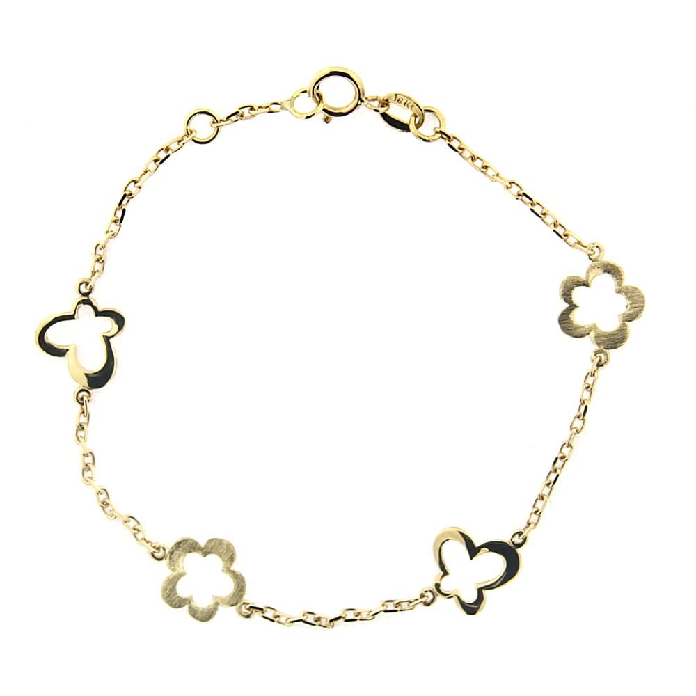 18K Yellow Gold Open Polished Butterfly open Satin Flowers Bracelet 6 inches with extra ring at 5.50 inch