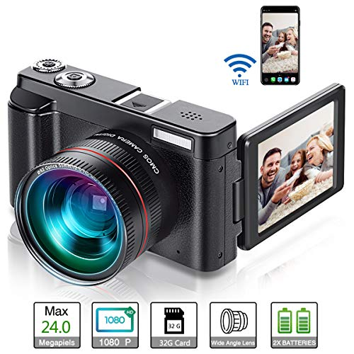 Vlogging Camera, Video Camcorder Full HD 1080p 24MP Digital Camera WiFi YouTube Camera Camcorder with 32GB Card, Wide Angle Lens, 180 Degree Rotation Flip Screen, 16x Digital Zoom (Two Batteries)