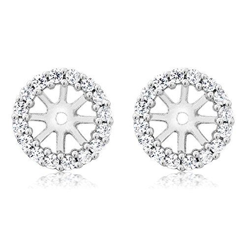 Cubic Jackets Earring Zirconia - 925 Sterling Silver Women's Earring Jackets for 7.00MM Round Shape Studs