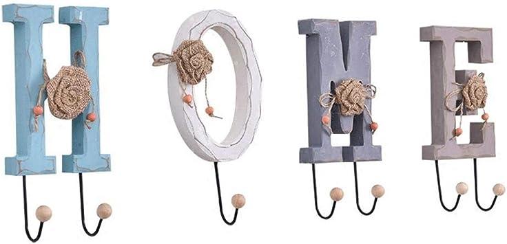 Alfanum/érico Colgante de pared Abrigo Decoraci/ón de pared Percha para la decoraci/ón del hogar LOVE HOME Carta Ganchos para colgar en la pared