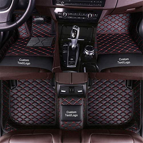 Custom Car Floor Mats Customizable 95% Car Model PU Leather All Weather Waterproof Non-Slip Diamond Full Covered Protection Advanced Performance Liners,Personalized Text and Image, Black red