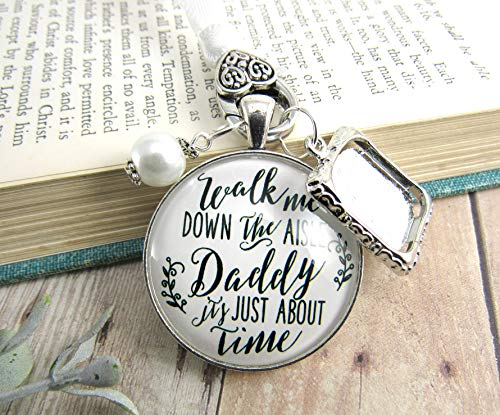 - Wedding Bouquet Charm Walk Me Down The Aisle Daddy Memorial Jewelry Silver Finish Keepsake Gift Photo Frame
