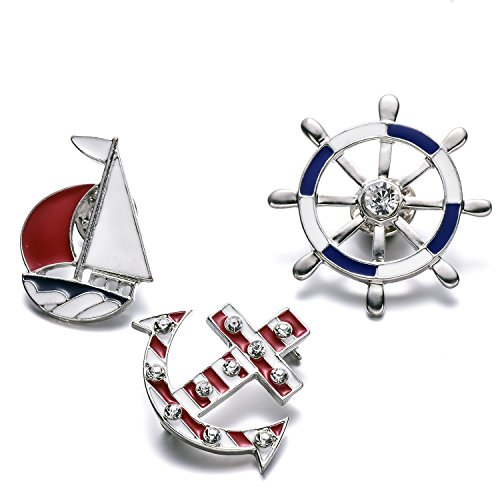 Free Ship Pin Brooch (OAONNEA Cute Sailing Enamel Label Pins Anchor Sailboat Wheel Brooches 3 PCS Pin Set)