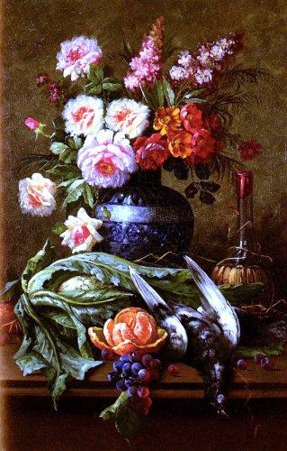 Modeste Carlier Nature Morte Aux Fleurs Et A L'Orange - 18.05