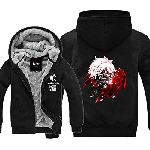 Rains Pan Anime Tokyo Goul Kaneki Ken Cosplay Zipper Thicken Hood Hoodie with Pockets
