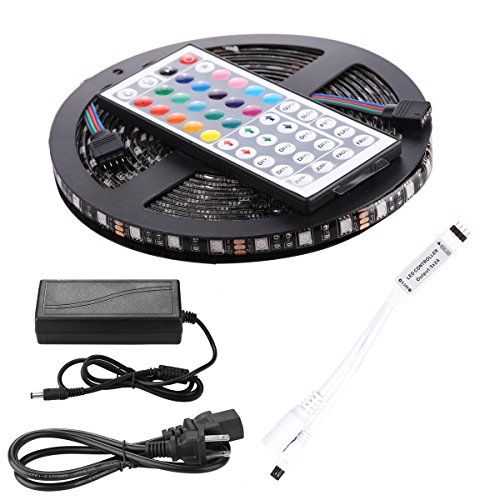 Led Light Strip, Abestbox 16.4ft 5M [IP65 Waterproof] SMD 5050 RGB with Black PCB Board Flexible Color Changing Decoration Lighting 300 LEDs Kit+ 44-key Remote Controller+ 2.5A Power Adapter (Led Strip Lights Black compare prices)
