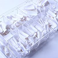 ECBASKET New 500 pcs White French Acrylic False Artificial Nail Art Tips With 10 Sizes & Box