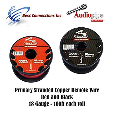 18 GAUGE WIRE RED & BLACK POWER GROUND 100 FT EACH PRIMARY STRANDED COPPER CLAD: Everything Else