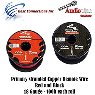 Sale 18 GAUGE WIRE RED & BLACK POWER GROUND 100 FT EACH PRIMARY STRANDED COPPER CLAD