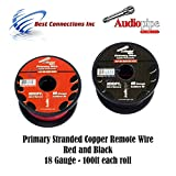 18 GAUGE WIRE RED & BLACK POWER GROUND 100 FT EACH PRIMARY STRANDED COPPER CLAD
