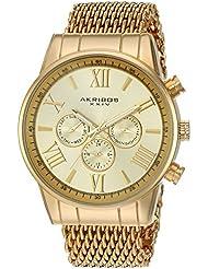 Akribos XXIV Mens AK919YG Analog Swiss Quartz Gold Watch
